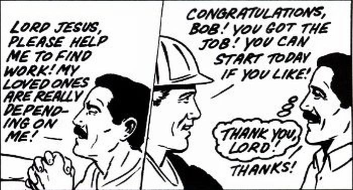 A man praying for a job.