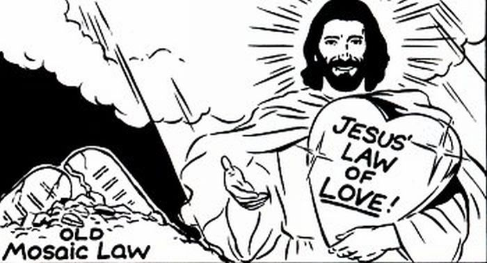 Mosaic Law compared to Jesus' law of love.