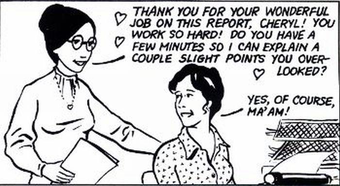 Boss encouraging her employee.