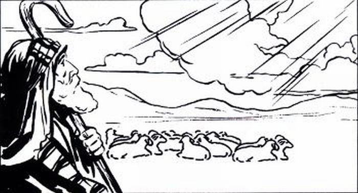 Moses watching the sheep.
