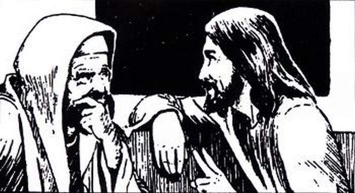 Jesus talking to Nicodemus.