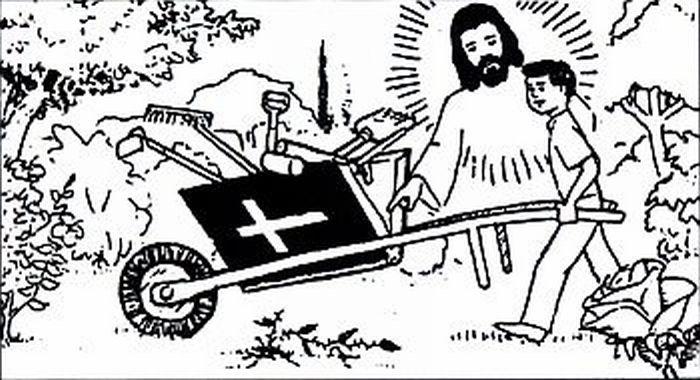 Boy gardening with Jesus' help.