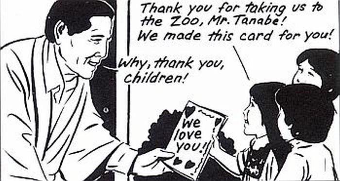 Children thanking man.