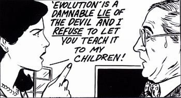 Mother telling the Darwinian teacher off!