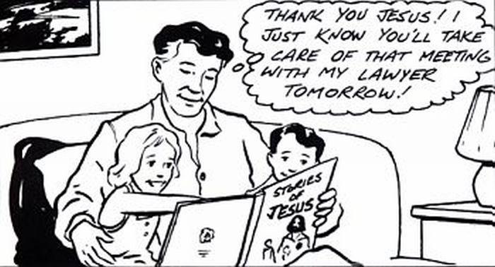 Man reading story of Jesus to his kids.