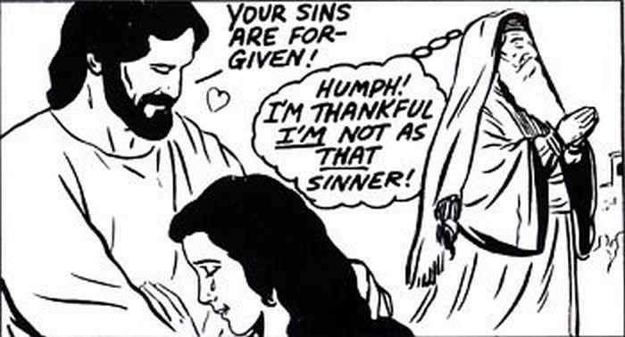 Jesus forgiving the sinner lady.